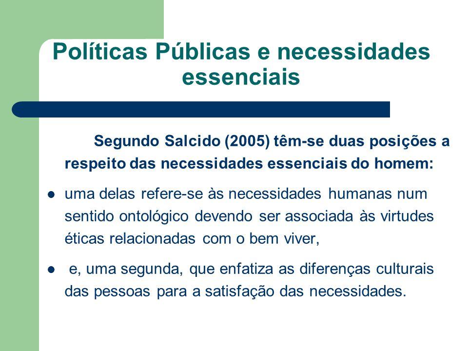 Políticas Públicas e necessidades essenciais Segundo Salcido (2005) têm-se duas posições a respeito das necessidades essenciais do homem: uma delas re