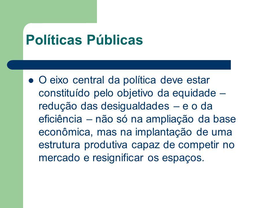 Políticas Públicas O eixo central da política deve estar constituído pelo objetivo da equidade – redução das desigualdades – e o da eficiência – não s