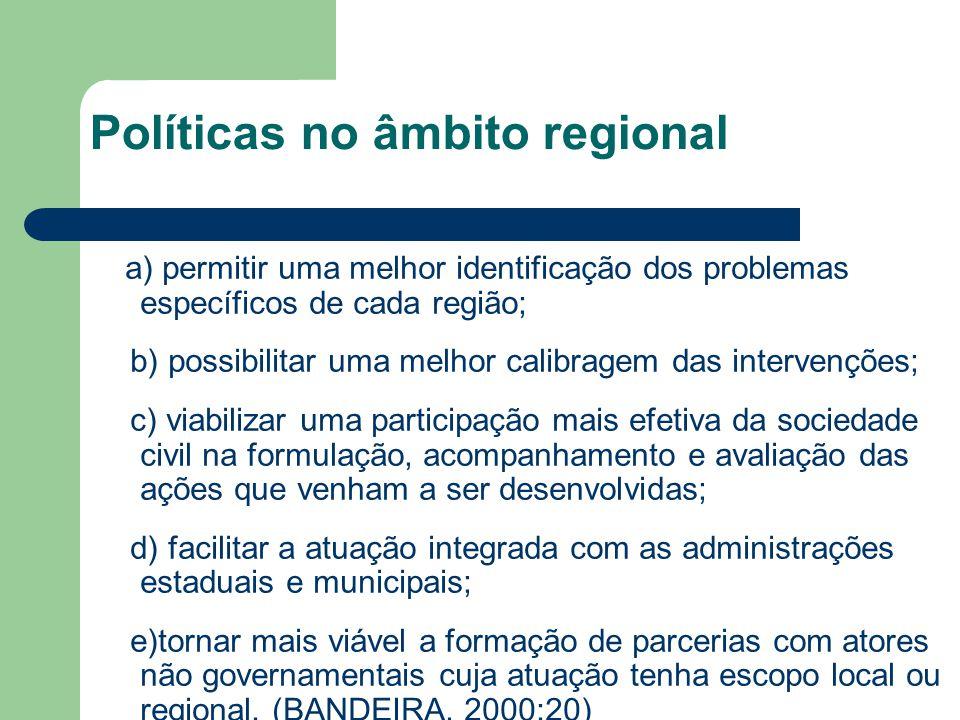 Políticas no âmbito regional a) permitir uma melhor identificação dos problemas específicos de cada região; b) possibilitar uma melhor calibragem das