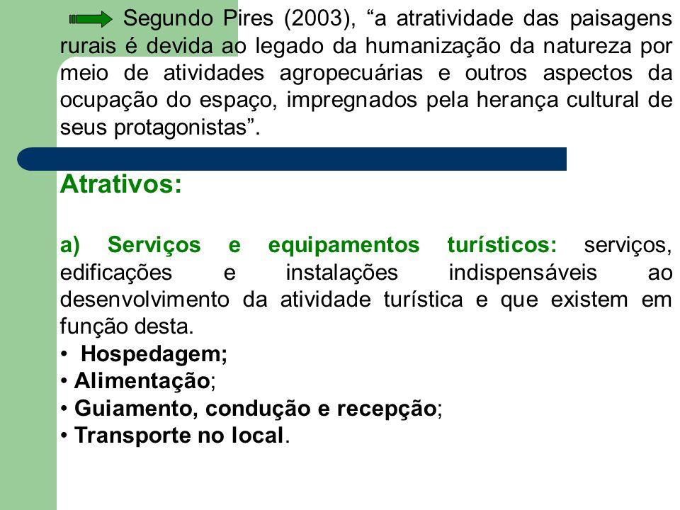 """Segundo Pires (2003), """"a atratividade das paisagens rurais é devida ao legado da humanização da natureza por meio de atividades agropecuárias e outros"""