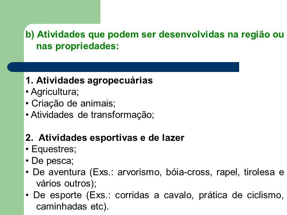 b) Atividades que podem ser desenvolvidas na região ou nas propriedades: 1.Atividades agropecuárias Agricultura; Criação de animais; Atividades de tra