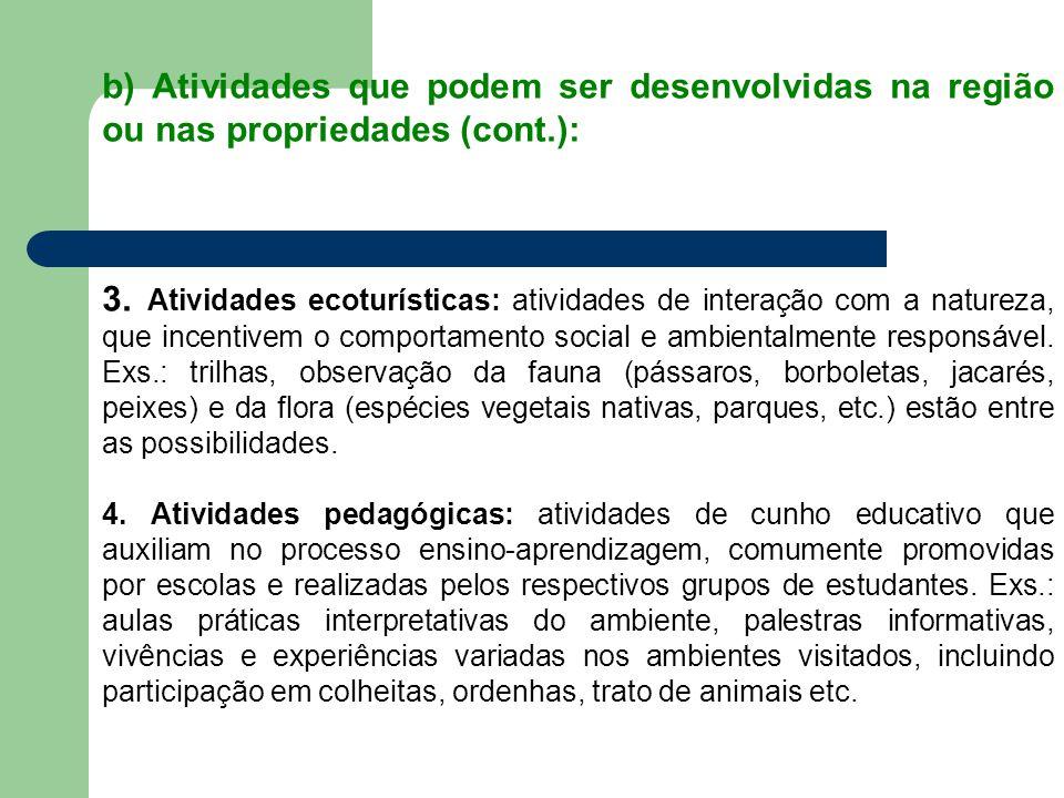b) Atividades que podem ser desenvolvidas na região ou nas propriedades (cont.): 3. Atividades ecoturísticas: atividades de interação com a natureza,