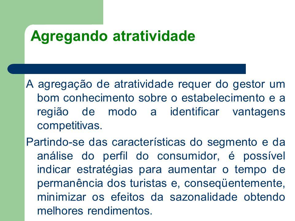 Agregando atratividade A agregação de atratividade requer do gestor um bom conhecimento sobre o estabelecimento e a região de modo a identificar vanta