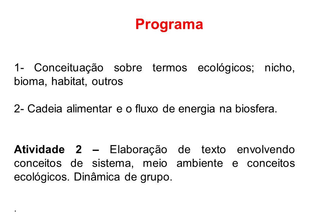 Programa 1- Conceituação sobre termos ecológicos; nicho, bioma, habitat, outros 2- Cadeia alimentar e o fluxo de energia na biosfera.