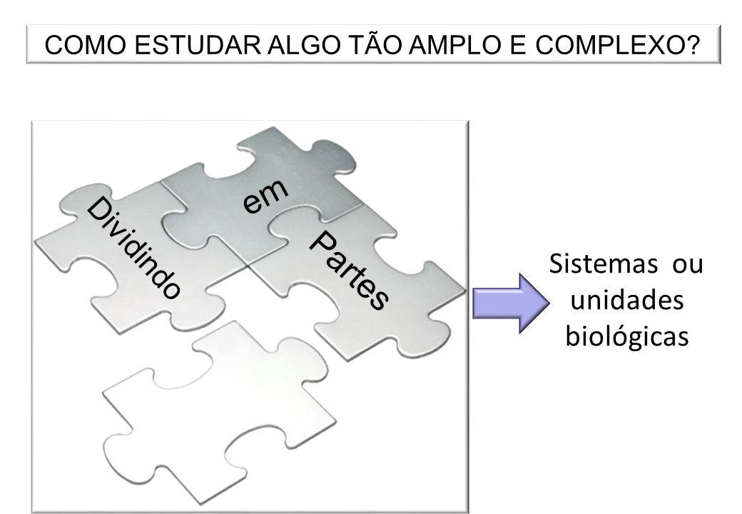 COMO ESTUDAR ALGO TÃO AMPLO E COMPLEXO? Dividindo em Partes Sistemas ou unidades biológicas