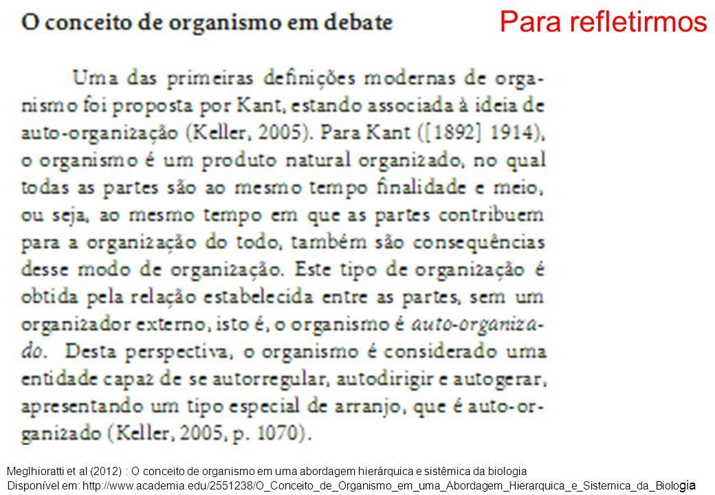 Para refletirmos Meglhioratti et al (2012) : O conceito de organismo em uma abordagem hierárquica e sistêmica da biologia Disponível em: http://www.academia.edu/2551238/O_Conceito_de_Organismo_em_uma_Abordagem_Hierarquica_e_Sistemica_da_Biolo gia