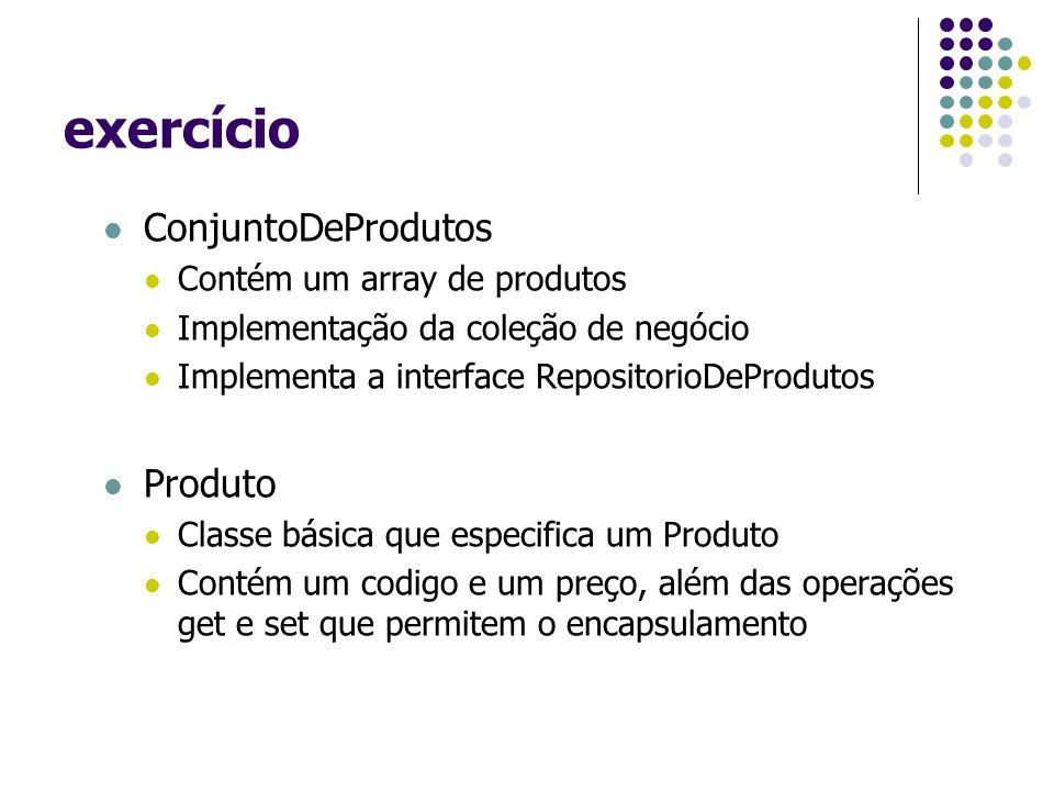 exercício ConjuntoDeProdutos Contém um array de produtos Implementação da coleção de negócio Implementa a interface RepositorioDeProdutos Produto Classe básica que especifica um Produto Contém um codigo e um preço, além das operações get e set que permitem o encapsulamento