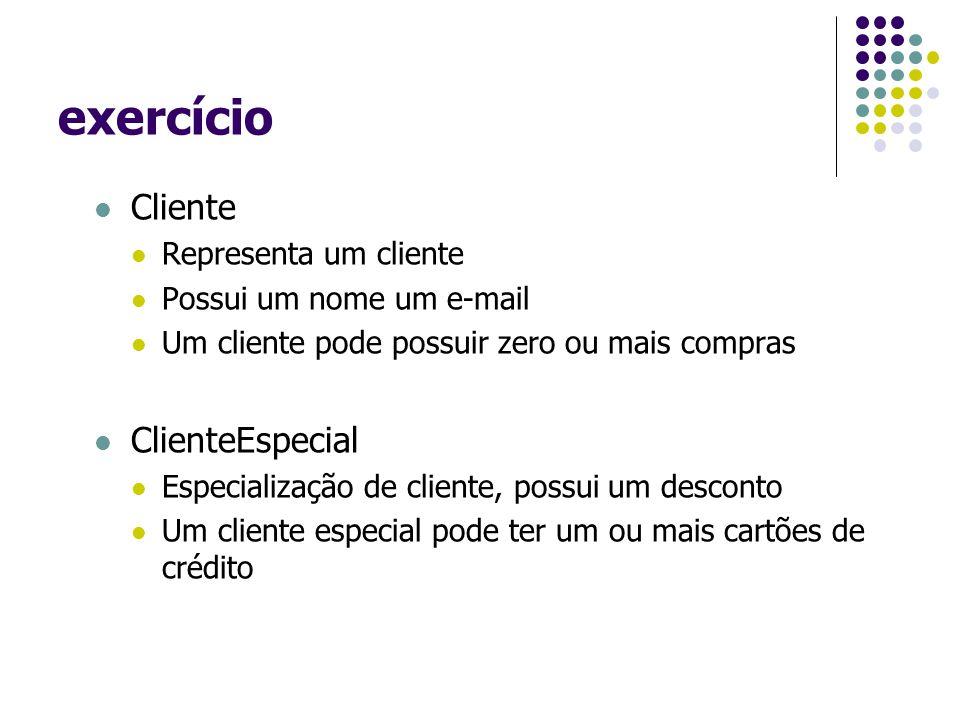 exercício Cliente Representa um cliente Possui um nome um e-mail Um cliente pode possuir zero ou mais compras ClienteEspecial Especialização de cliente, possui um desconto Um cliente especial pode ter um ou mais cartões de crédito