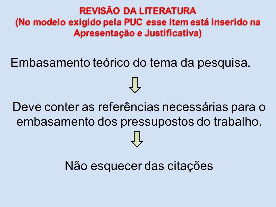 Embasamento teórico do tema da pesquisa. Deve conter as referências necessárias para o embasamento dos pressupostos do trabalho. Não esquecer das cita