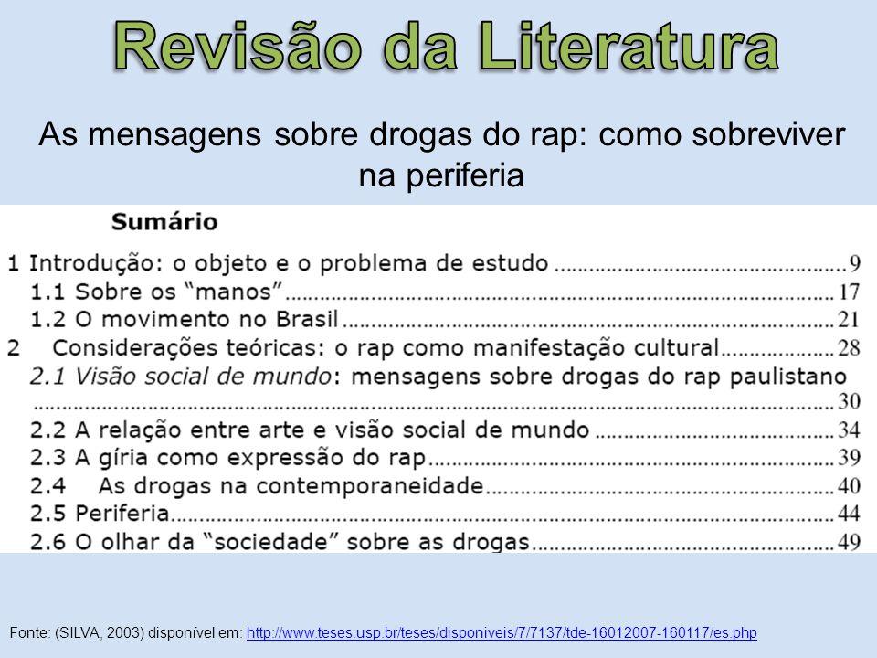As mensagens sobre drogas do rap: como sobreviver na periferia Fonte: (SILVA, 2003) disponível em: http://www.teses.usp.br/teses/disponiveis/7/7137/td