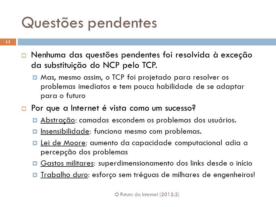 Questões pendentes O Futuro da Internet (2012.2) 11  Nenhuma das questões pendentes foi resolvida à exceção da substituição do NCP pelo TCP.