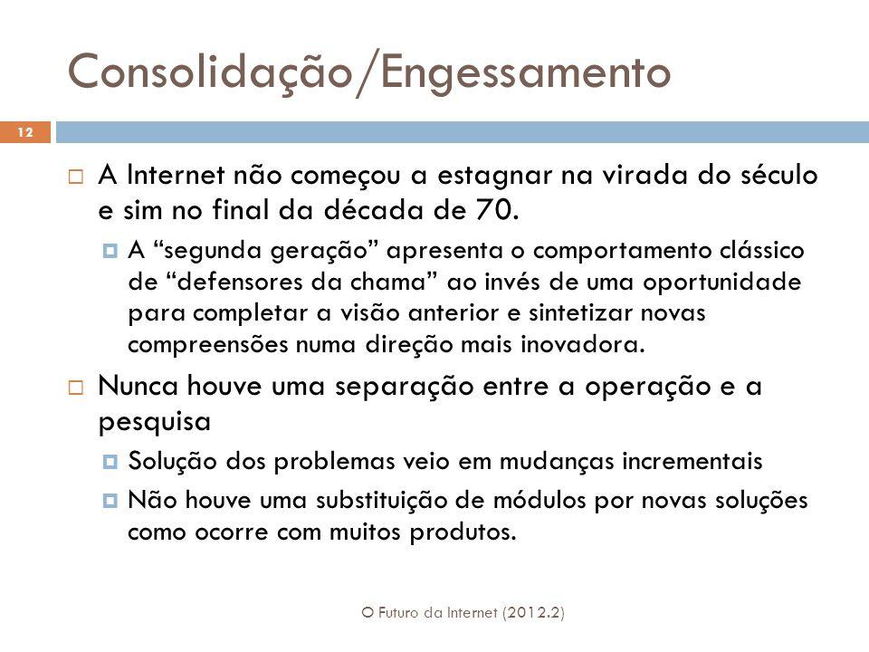Consolidação/Engessamento O Futuro da Internet (2012.2) 12  A Internet não começou a estagnar na virada do século e sim no final da década de 70.