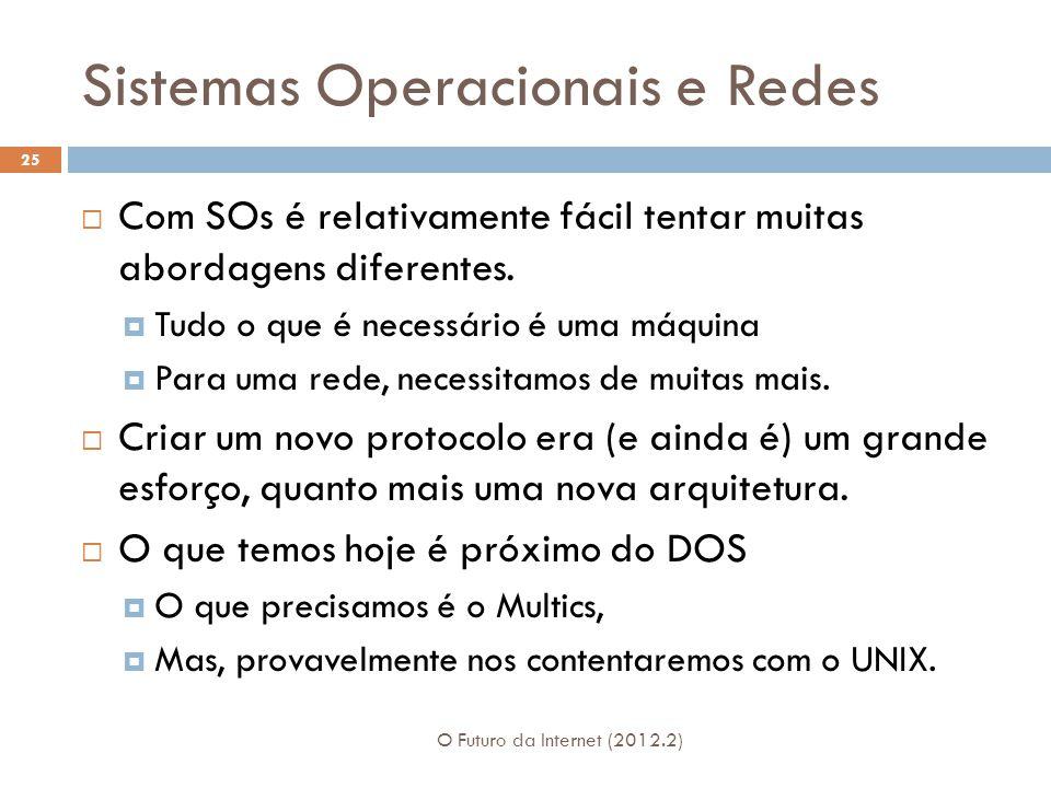 Sistemas Operacionais e Redes O Futuro da Internet (2012.2) 25  Com SOs é relativamente fácil tentar muitas abordagens diferentes.