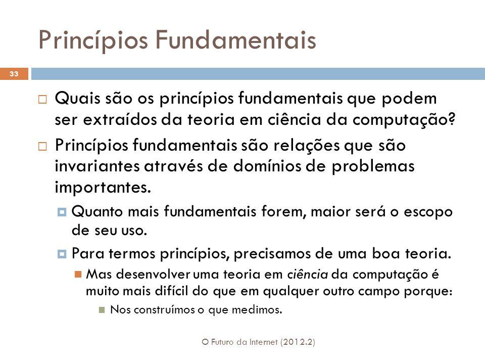 Princípios Fundamentais O Futuro da Internet (2012.2) 33  Quais são os princípios fundamentais que podem ser extraídos da teoria em ciência da computação.