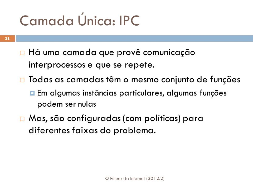 Camada Única: IPC O Futuro da Internet (2012.2) 38  Há uma camada que provê comunicação interprocessos e que se repete.