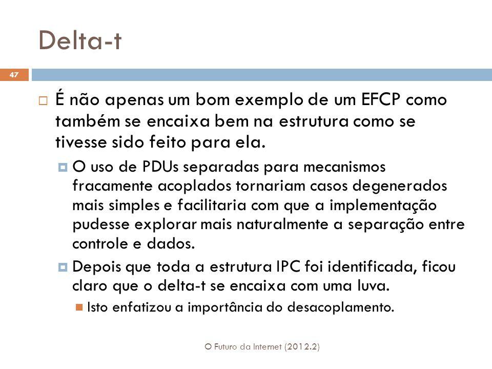 Delta-t O Futuro da Internet (2012.2) 47  É não apenas um bom exemplo de um EFCP como também se encaixa bem na estrutura como se tivesse sido feito para ela.