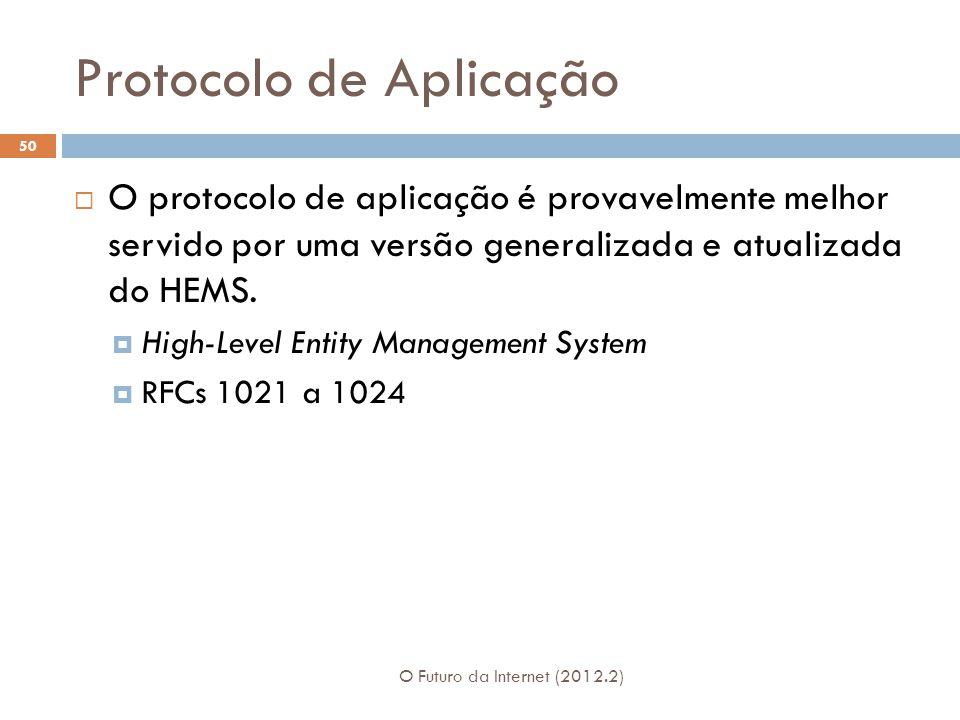 Protocolo de Aplicação O Futuro da Internet (2012.2) 50  O protocolo de aplicação é provavelmente melhor servido por uma versão generalizada e atualizada do HEMS.