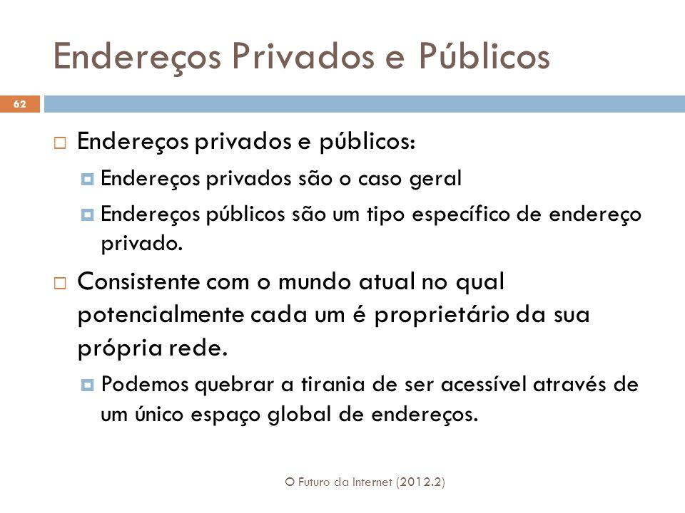 Endereços Privados e Públicos O Futuro da Internet (2012.2) 62  Endereços privados e públicos:  Endereços privados são o caso geral  Endereços públicos são um tipo específico de endereço privado.