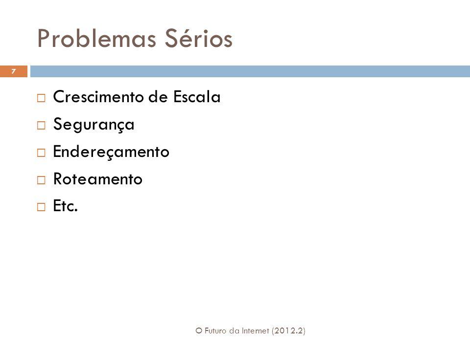 Problemas Sérios O Futuro da Internet (2012.2) 7  Crescimento de Escala  Segurança  Endereçamento  Roteamento  Etc.
