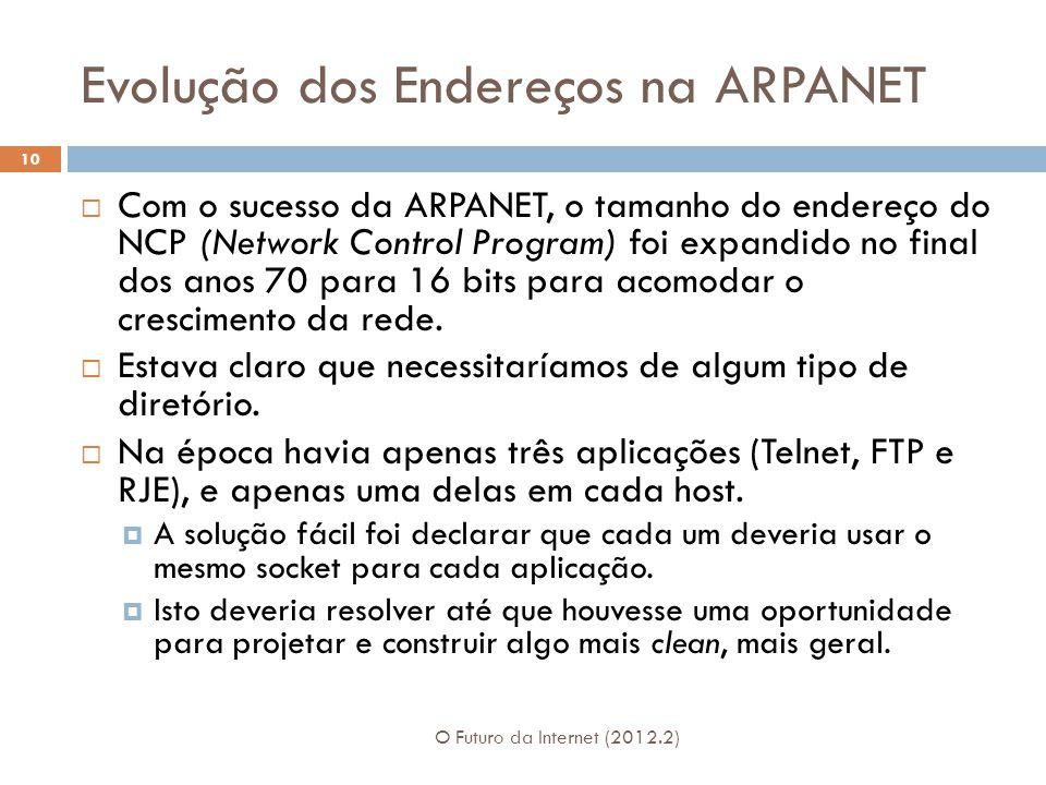 Evolução dos Endereços na ARPANET O Futuro da Internet (2012.2) 10  Com o sucesso da ARPANET, o tamanho do endereço do NCP (Network Control Program)