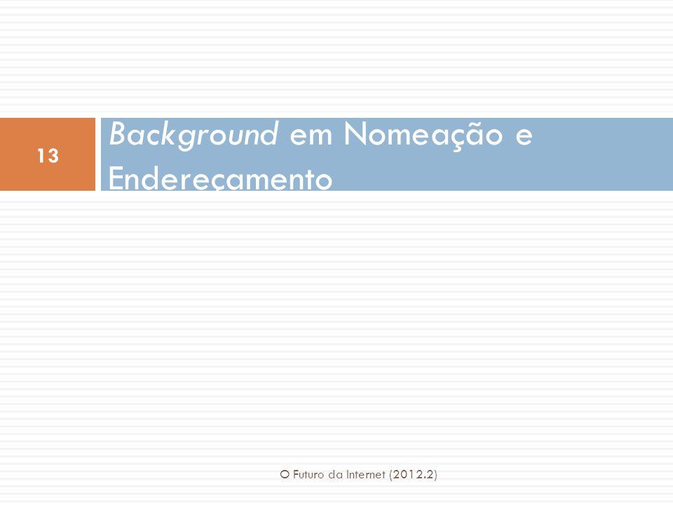 Background em Nomeação e Endereçamento 13 O Futuro da Internet (2012.2)