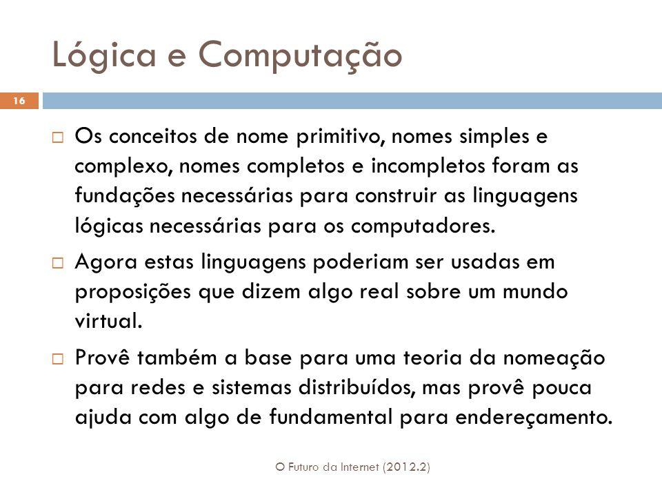 Lógica e Computação O Futuro da Internet (2012.2) 16  Os conceitos de nome primitivo, nomes simples e complexo, nomes completos e incompletos foram a