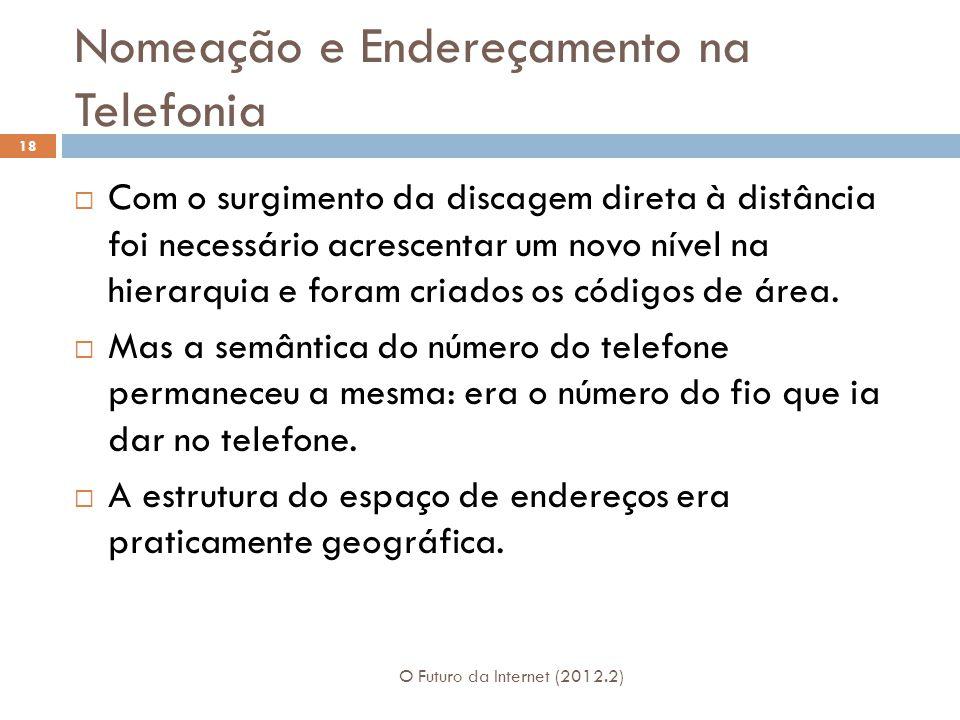 Nomeação e Endereçamento na Telefonia O Futuro da Internet (2012.2) 18  Com o surgimento da discagem direta à distância foi necessário acrescentar um