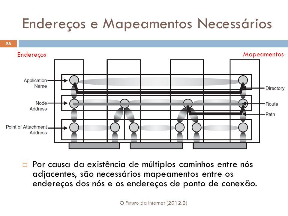Endereços e Mapeamentos Necessários O Futuro da Internet (2012.2) 28  Por causa da existência de múltiplos caminhos entre nós adjacentes, são necessá