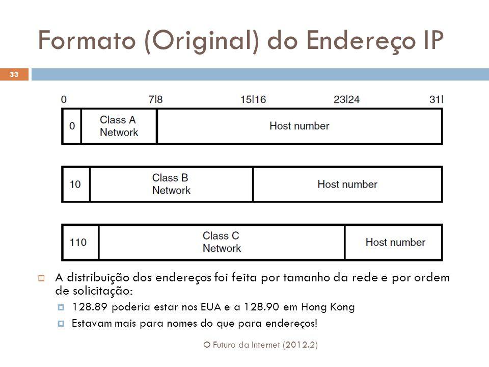 Formato (Original) do Endereço IP O Futuro da Internet (2012.2) 33  A distribuição dos endereços foi feita por tamanho da rede e por ordem de solicit
