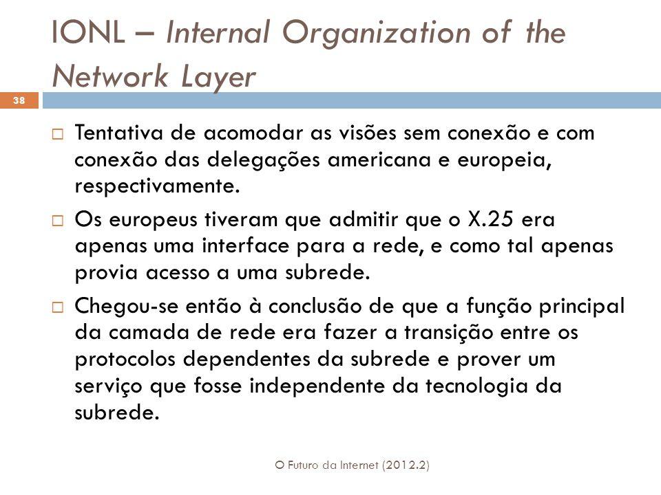 IONL – Internal Organization of the Network Layer O Futuro da Internet (2012.2) 38  Tentativa de acomodar as visões sem conexão e com conexão das del