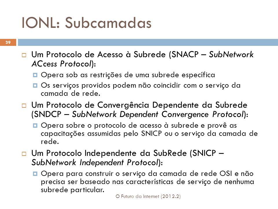 IONL: Subcamadas O Futuro da Internet (2012.2) 39  Um Protocolo de Acesso à Subrede (SNACP – SubNetwork ACcess Protocol):  Opera sob as restrições d