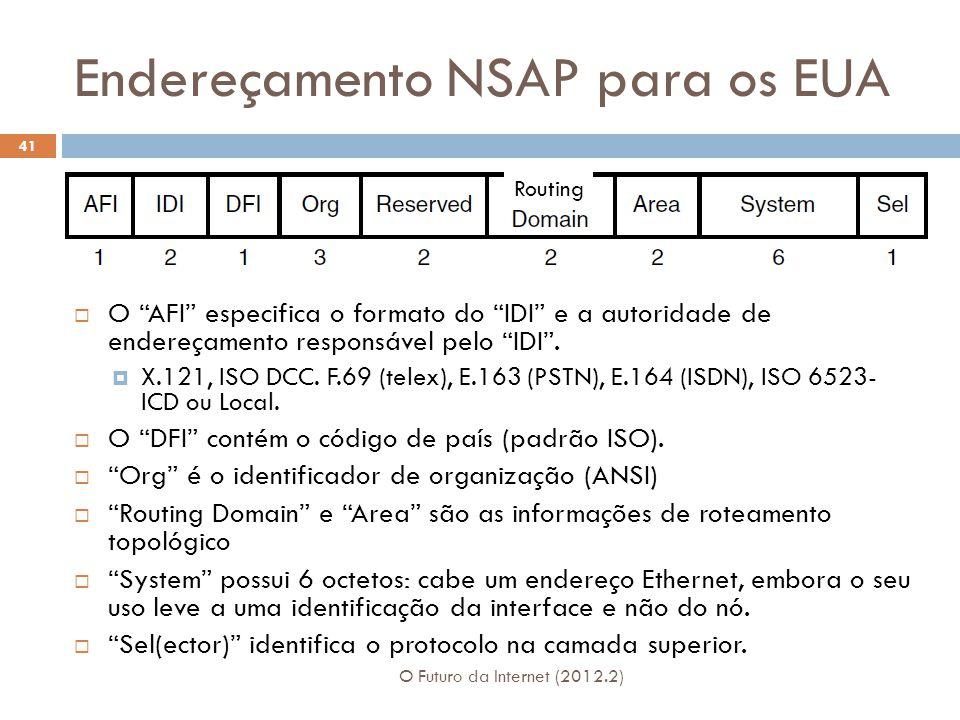 """Endereçamento NSAP para os EUA O Futuro da Internet (2012.2) 41  O """"AFI"""" especifica o formato do """"IDI"""" e a autoridade de endereçamento responsável pe"""