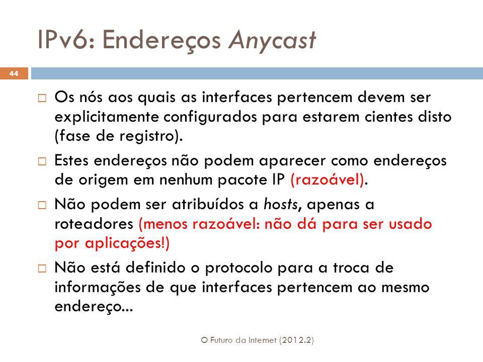 IPv6: Endereços Anycast O Futuro da Internet (2012.2) 44  Os nós aos quais as interfaces pertencem devem ser explicitamente configurados para estarem