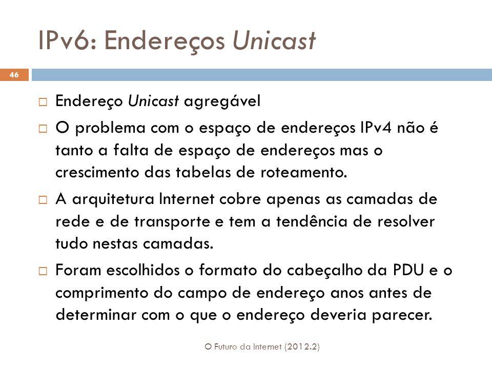 IPv6: Endereços Unicast O Futuro da Internet (2012.2) 46  Endereço Unicast agregável  O problema com o espaço de endereços IPv4 não é tanto a falta