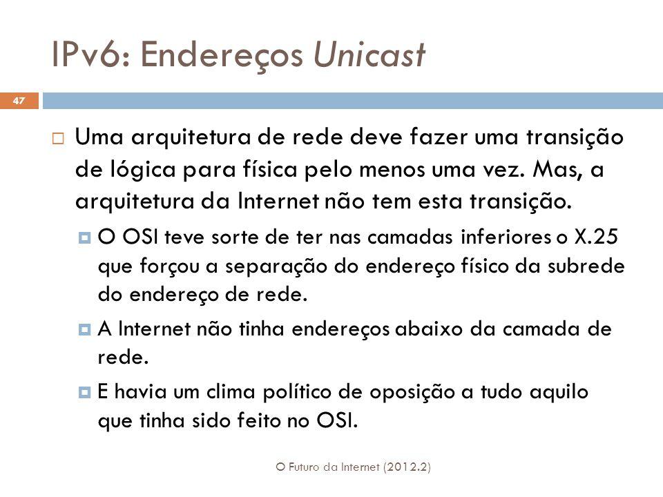 IPv6: Endereços Unicast O Futuro da Internet (2012.2) 47  Uma arquitetura de rede deve fazer uma transição de lógica para física pelo menos uma vez.