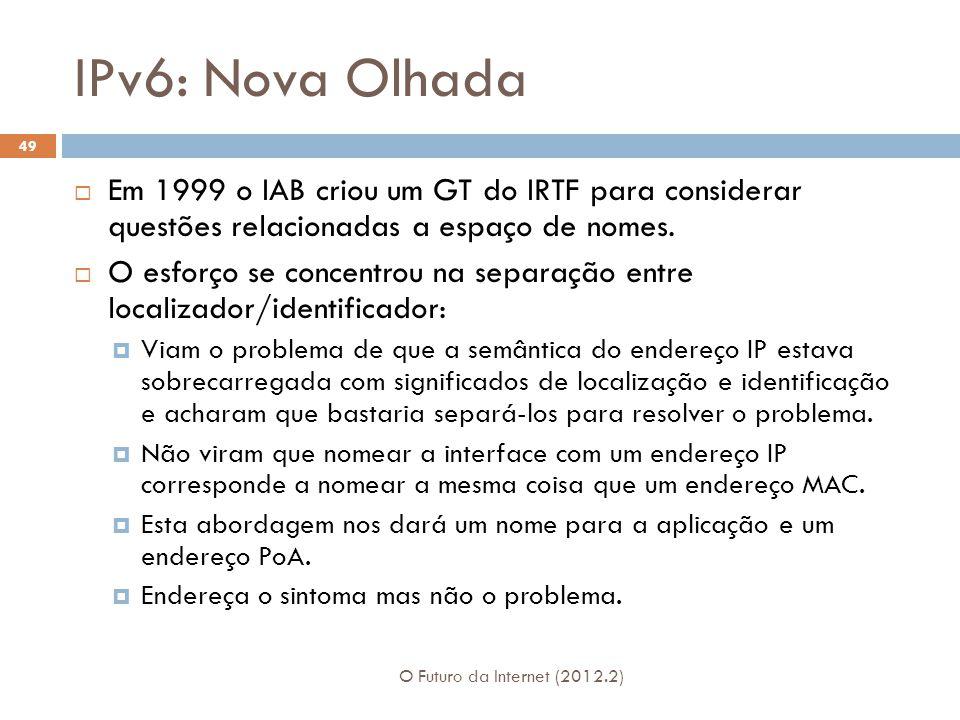 IPv6: Nova Olhada O Futuro da Internet (2012.2) 49  Em 1999 o IAB criou um GT do IRTF para considerar questões relacionadas a espaço de nomes.  O es
