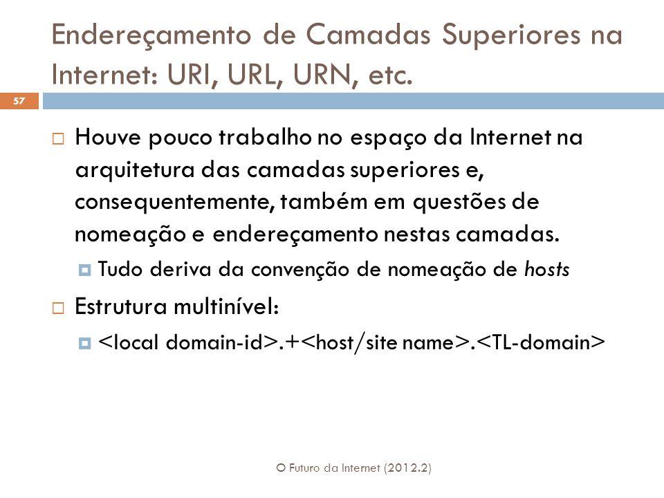 Endereçamento de Camadas Superiores na Internet: URI, URL, URN, etc. O Futuro da Internet (2012.2) 57  Houve pouco trabalho no espaço da Internet na
