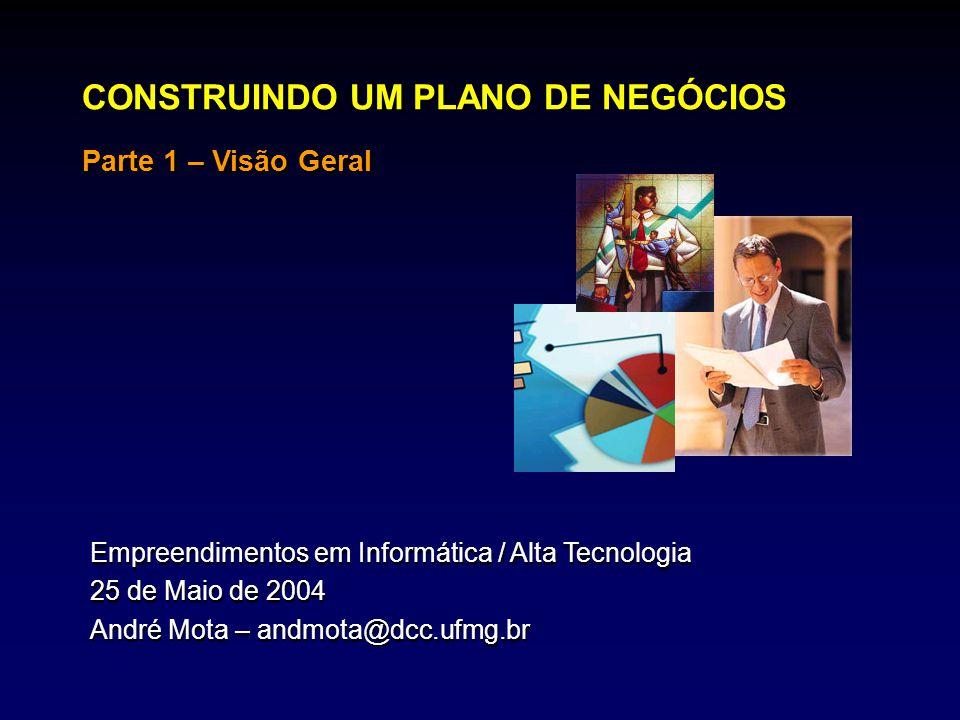 CONSTRUINDO UM PLANO DE NEGÓCIOS Parte 1 – Visão Geral Empreendimentos em Informática / Alta Tecnologia 25 de Maio de 2004 André Mota – andmota@dcc.uf