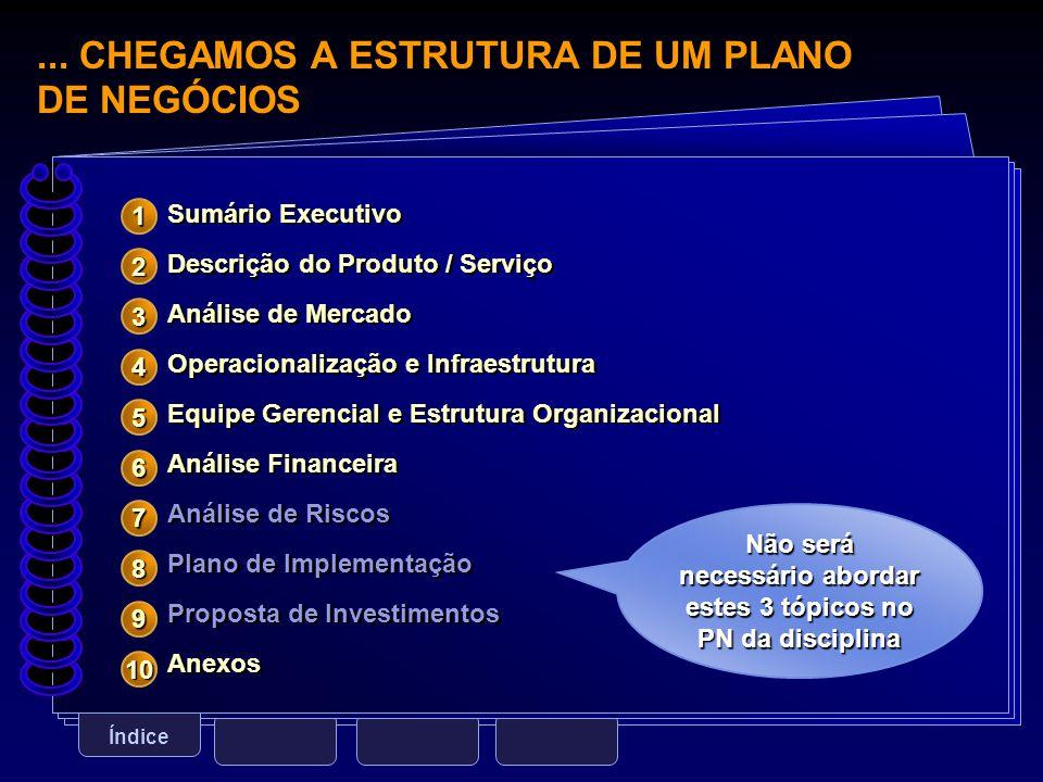 ... CHEGAMOS A ESTRUTURA DE UM PLANO DE NEGÓCIOS Índice Sumário Executivo Descrição do Produto / Serviço Análise de Mercado Operacionalização e Infrae