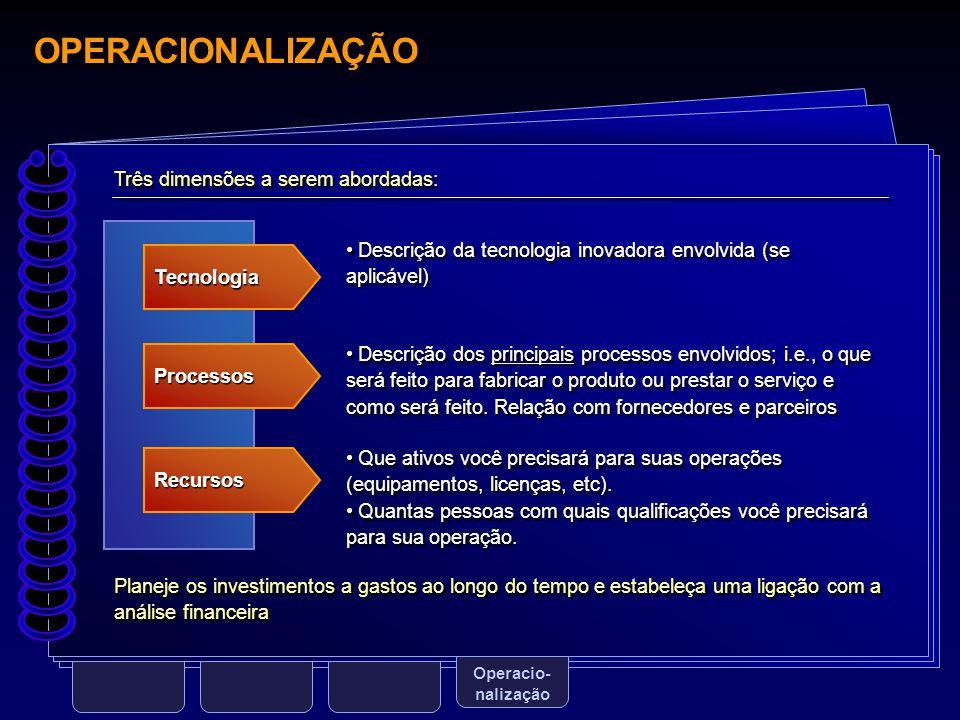 OPERACIONALIZAÇÃO Operacio- nalização Tecnologia Processos Recursos Descrição da tecnologia inovadora envolvida (se aplicável) Descrição dos principai
