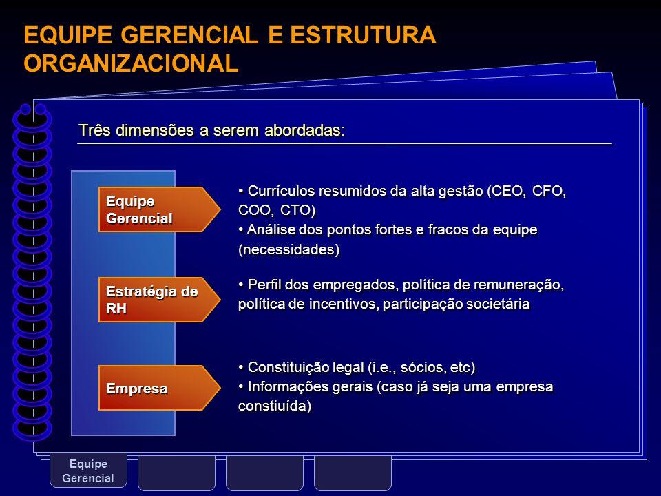 EQUIPE GERENCIAL E ESTRUTURA ORGANIZACIONAL Equipe Gerencial Três dimensões a serem abordadas: Equipe Gerencial Estratégia de RH Empresa Currículos re