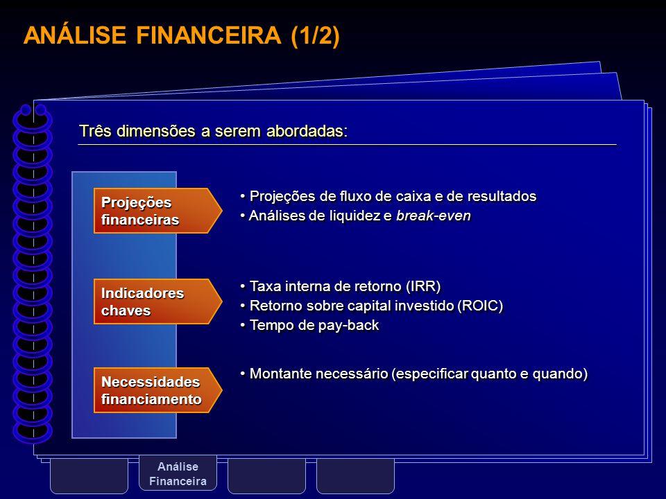 ANÁLISE FINANCEIRA (1/2) Análise Financeira Três dimensões a serem abordadas: Projeções financeiras Indicadores chaves Necessidades financiamento Proj
