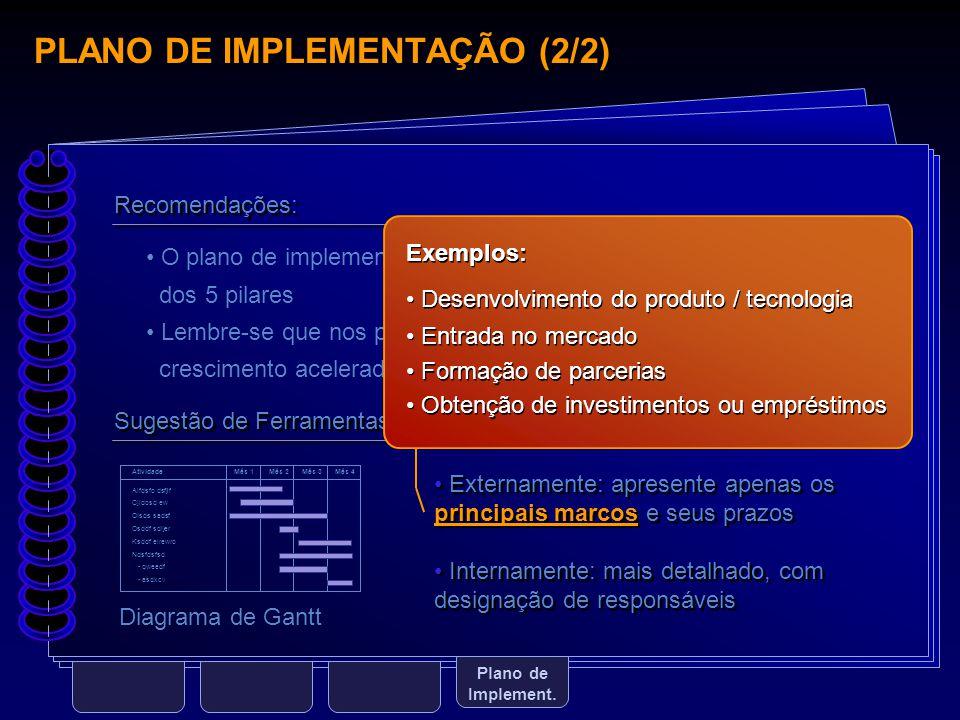 PLANO DE IMPLEMENTAÇÃO (2/2) Plano de Implement. Sugestão de Ferramentas: Diagrama de Gantt Atividade Mês 1Mês 2Mês 3Mês 4 Aifdsfo dsfjif Cjidosd ew O