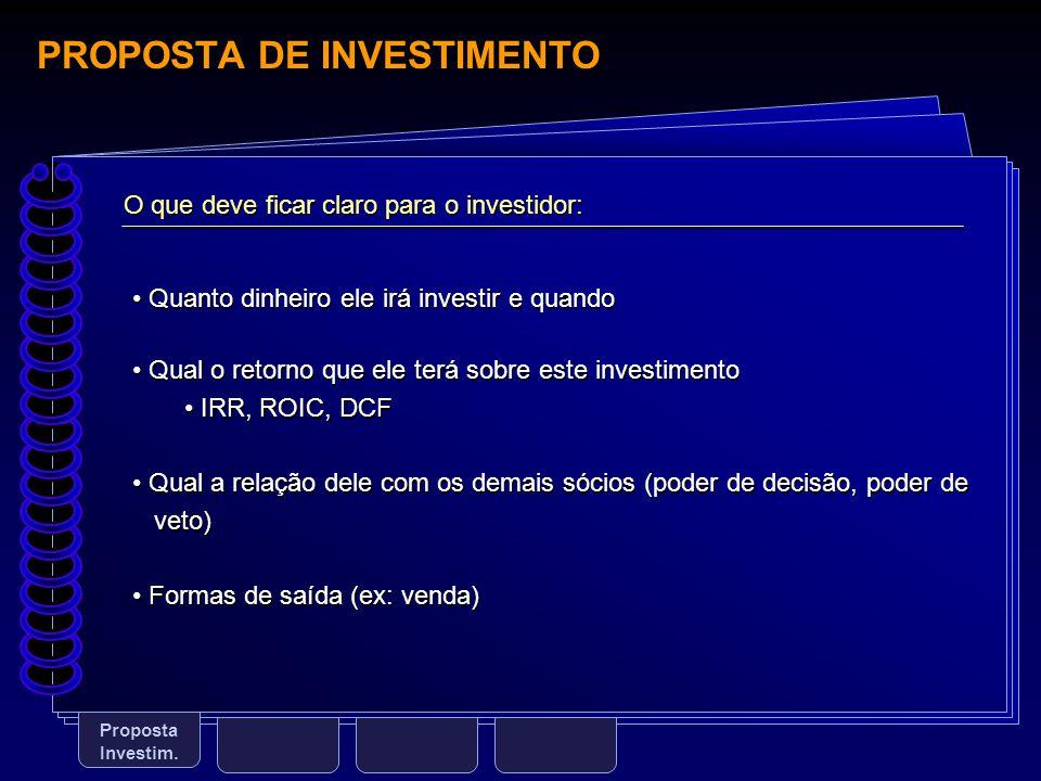 PROPOSTA DE INVESTIMENTO Proposta Investim. O que deve ficar claro para o investidor: Quanto dinheiro ele irá investir e quando Qual o retorno que ele