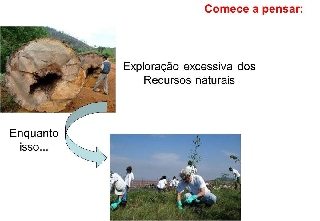 Exploração excessiva dos Recursos naturais Enquanto isso...