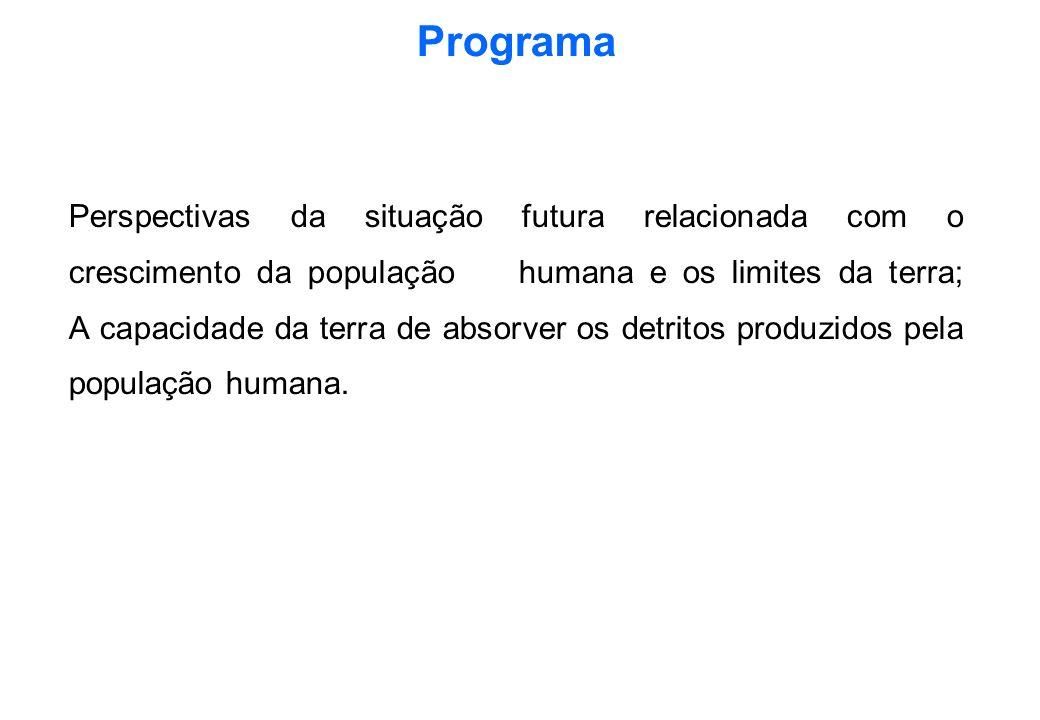 Programa Perspectivas da situação futura relacionada com o crescimento da população humana e os limites da terra; A capacidade da terra de absorver os