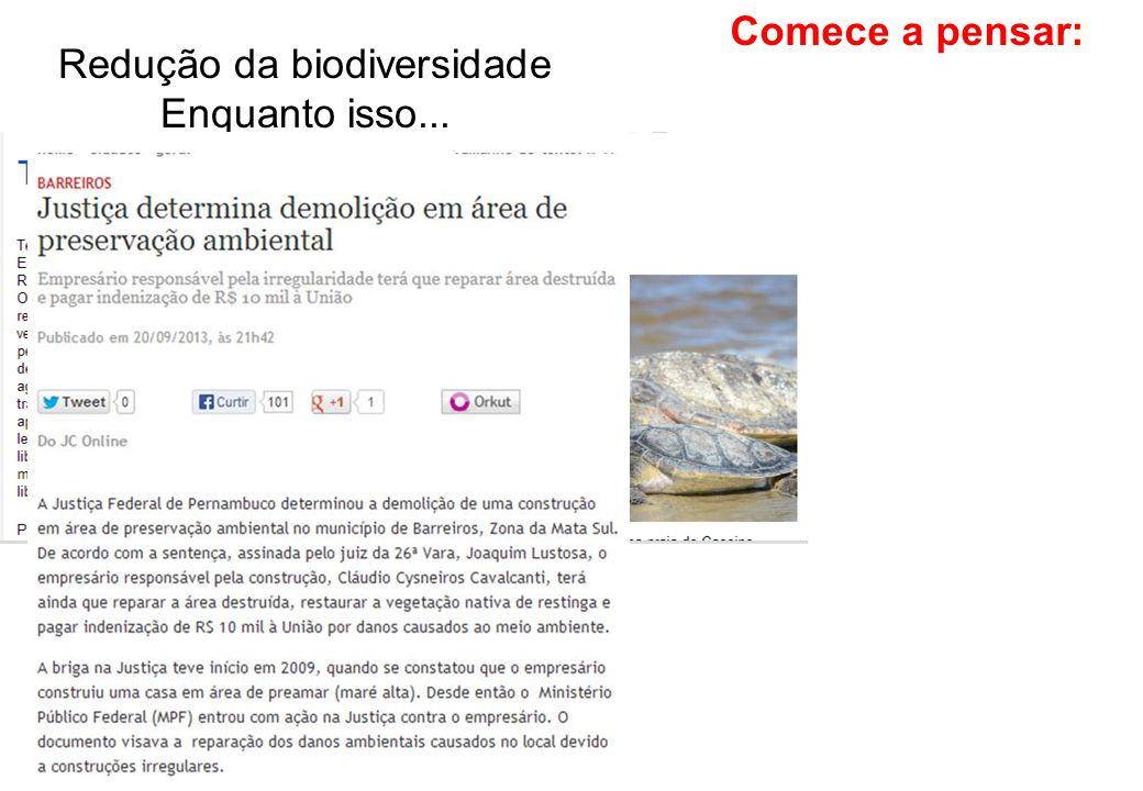 Comece a pensar: Redução da biodiversidade Enquanto isso...