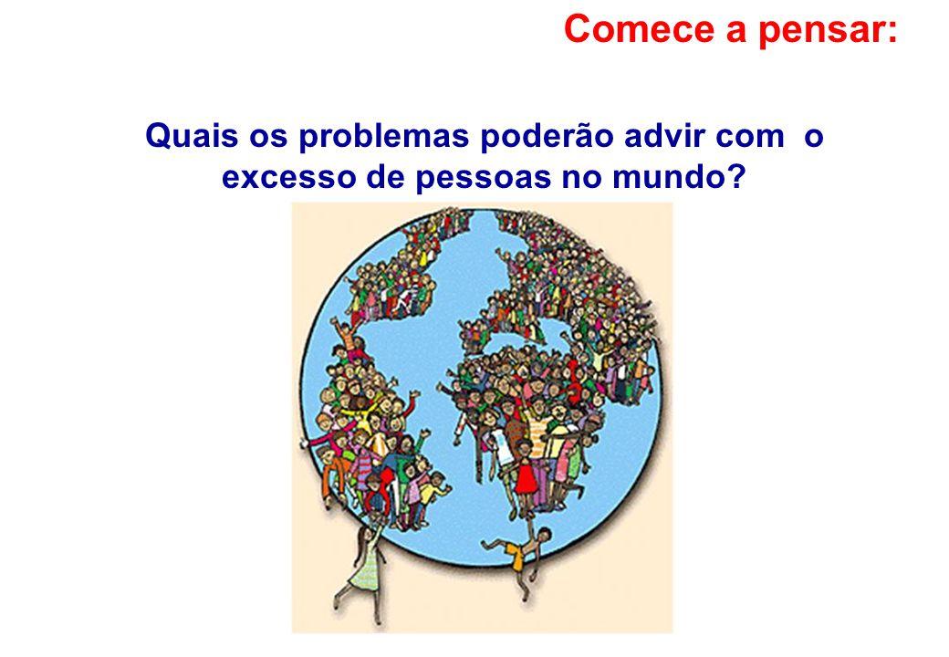 Quais os problemas poderão advir com o excesso de pessoas no mundo? Comece a pensar: