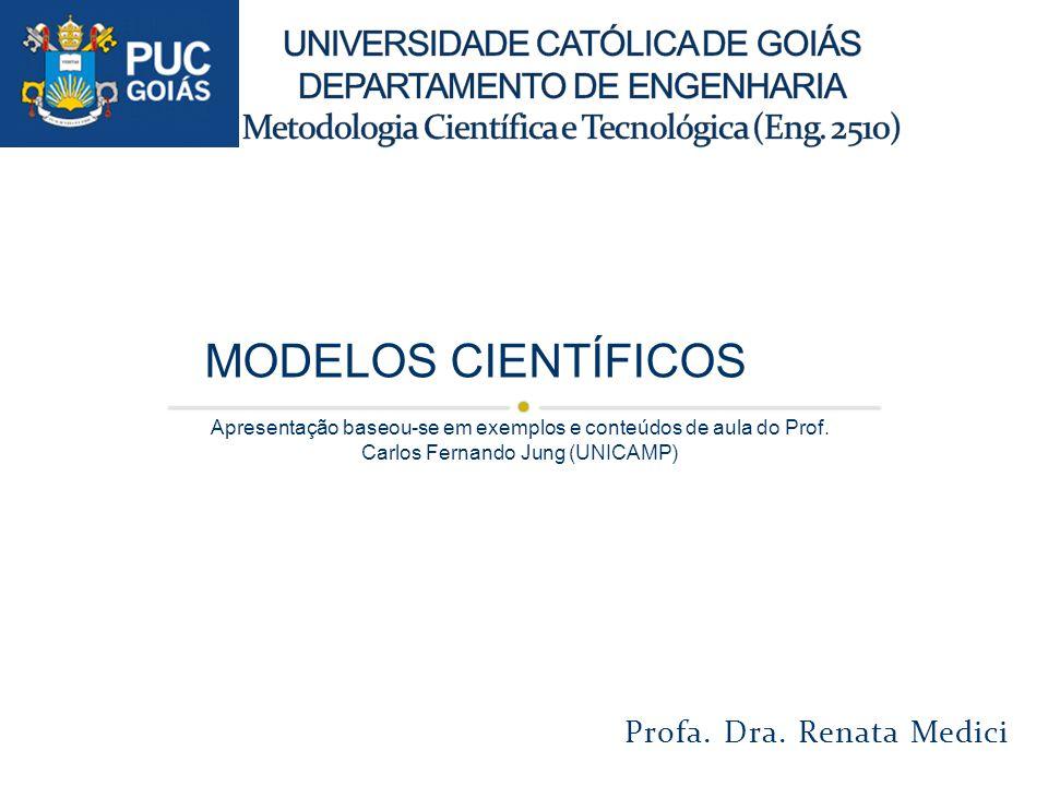 Profa. Dra. Renata Medici MODELOS CIENTÍFICOS Apresentação baseou-se em exemplos e conteúdos de aula do Prof. Carlos Fernando Jung (UNICAMP)