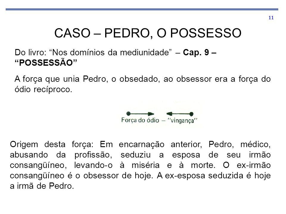 """11 CASO – PEDRO, O POSSESSO Do livro: """"Nos domínios da mediunidade"""" – Cap. 9 – """"POSSESSÃO"""" A força que unia Pedro, o obsedado, ao obsessor era a força"""